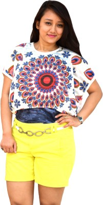 Aarti Collections Casual, Formal, Festive Butterfly Sleeve Printed Women's Red, Blue Top