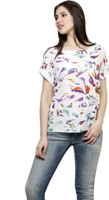 Dhrohar Casual Short Sleeve Graphic Print Women,s White Top