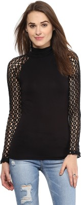 Harpa Casual Full Sleeve Solid Women's Black Top at flipkart