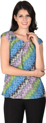 Latin Quarters Casual Cape Sleeve Printed Women,s Blue Top