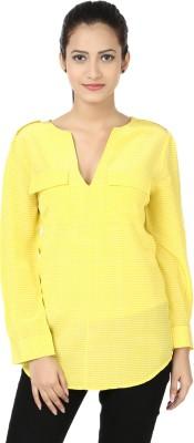 Adhaans Casual Full Sleeve Solid Women's Yellow Top