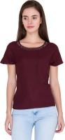 Alibi Casual Short Sleeve Solid Women's Maroon Top best price on Flipkart @ Rs. 575