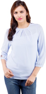 Centiaro Formal 3/4 Sleeve Solid Women's Blue Top