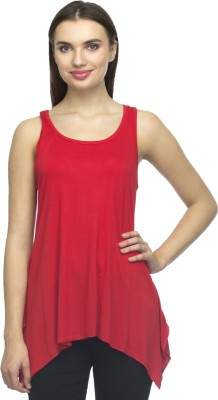 Bantry Casual Sleeveless Solid Women's Red Top