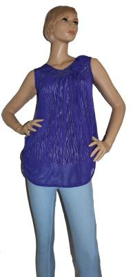 SayAlo Casual, Party Sleeveless Self Design Women's Blue Top