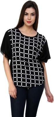 Blissskart Casual, Party Short Sleeve Checkered Women's White, Black Top