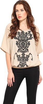 Blue Sequin Casual Short Sleeve Printed Women's Beige Top