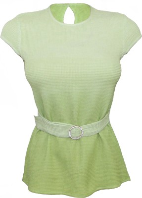 Attuendo Casual Short Sleeve Solid Women's Green Top