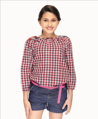 Citypret Casual Full Sleeve Checkered Girl's Pink Top