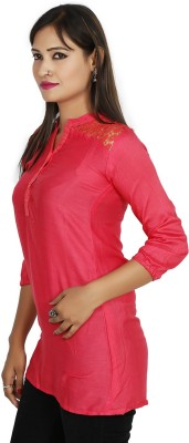 Sringar Casual 3/4 Sleeve Solid Women's Pink Top