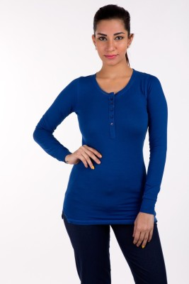 De Moza Casual Full Sleeve Solid Women's Blue Top