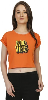 Threadz Casual Short Sleeve Printed Women,s Orange Top