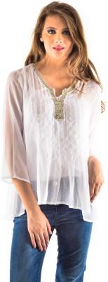 Oshea Casual 3/4 Sleeve Embellished Women,s White Top