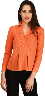 LA ATTIRE Casual Full Sleeve Self Design Women's Orange Top