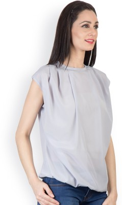 Tops and Tunics Casual Sleeveless Solid Women's Grey Top
