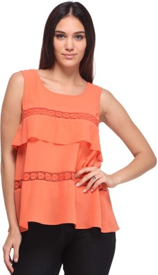 Nineteen Casual Sleeveless Solid Women's Orange Top