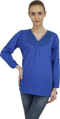 Hapuka Casual 3/4 Sleeve Solid Women's Blue Top