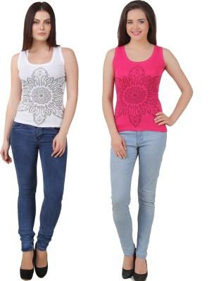 Yati Casual Sleeveless Printed Women's White, Pink Top