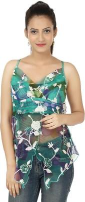 Clo Clu Casual Sleeveless Floral Print Women,s Green, White Top
