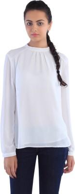 Dewberries Formal Full Sleeve Solid Women's White Top