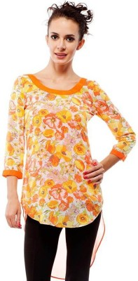 Orous Casual 3/4th Sleeve Floral Print Women's Orange Top at flipkart