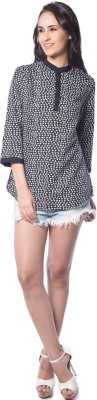 Florriefusion Casual 3/4 Sleeve Geometric Print Women's Black Top