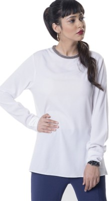 The Office Walk Formal Full Sleeve Solid Women's White Top