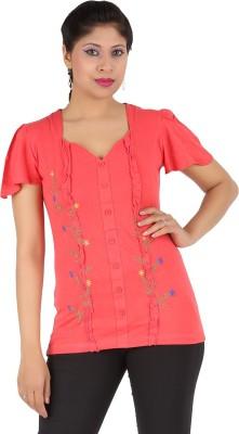 Harsha Casual Short Sleeve Floral Print Women's Orange Top