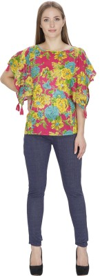 Famous by Payal Kapoor Casual Butterfly Sleeve Printed Women's Multicolor Top