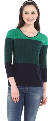 Miss Grace Casual 3/4 Sleeve Striped Women's Green Top