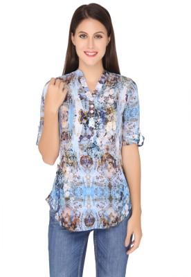 Girl Next Door Casual Roll-up Sleeve Printed Women's Blue Top
