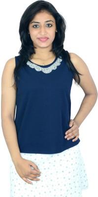 Shopaholic Fashion Casual Sleeveless Printed Women's Blue Top
