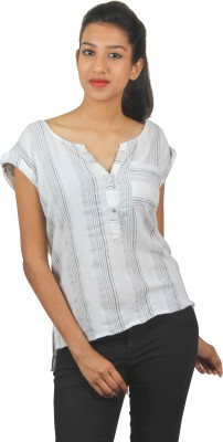 Old Khaki Casual Short Sleeve Striped Women's Multicolor Top