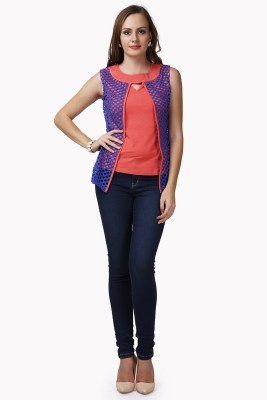 Glam & Luxe Casual Sleeveless Solid Women's Red, Dark Blue Top