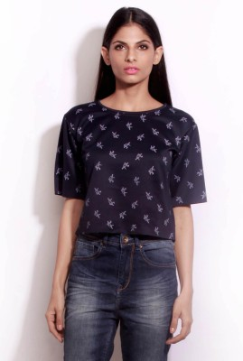 Change360?? Casual Short Sleeve Printed Women's Blue Top