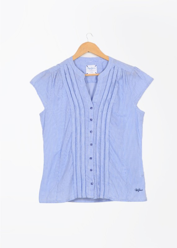 Pepe Jeans Casual Short Sleeve Striped Women's White, Blue Top