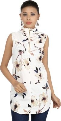 Maggie Party Sleeveless Floral Print Women's White, Brown Top
