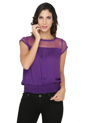 Philigree Casual Cape Sleeve Solid Women,s Purple Top