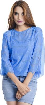 Coffee Bean Casual 3/4 Sleeve Self Design Women's Blue Top