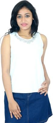 Shopaholic Fashion Casual Sleeveless Printed Women's White Top