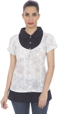 Clodentity Casual Short Sleeve Solid Women's Black, White Top