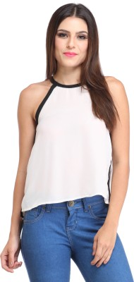 Amirich Casual Sleeveless Solid Women's White Top