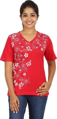 FICTIF Casual Short Sleeve Floral Print Women's Red Top