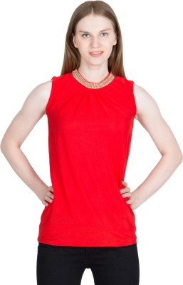 kaaf fashion Party, Festive, Wedding Sleeveless Solid Women's Red Top