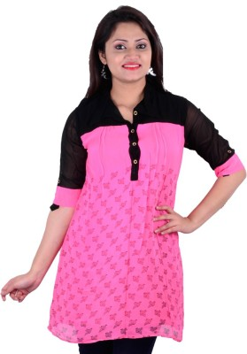 SMUK Casual 3/4th Sleeve Printed Women's Pink Top at flipkart