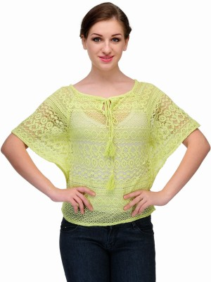 Samayra Casual Butterfly Sleeve Woven Women's Green Top