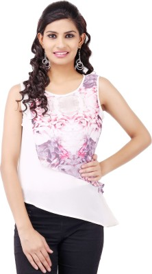 Pear Blossom Casual Sleeveless Printed Women's White Top