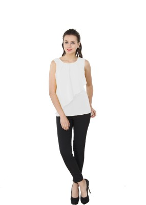 Western Route Casual Sleeveless Solid Women's White Top