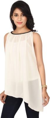 TUSHIYYAH Casual Sleeveless Solid Women's White Top