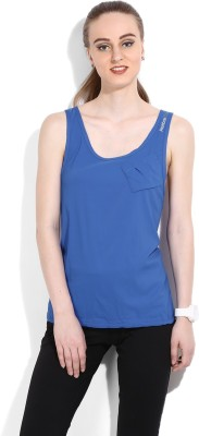 Reebok Casual Sleeveless Solid Women's Blue Top